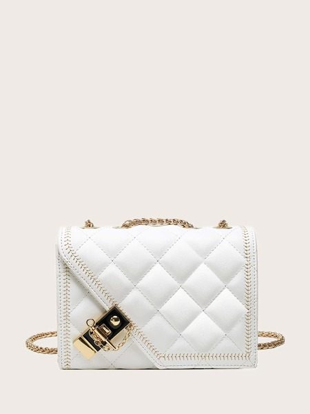 Quilted Toggle Lock Flap Crossbody Bag