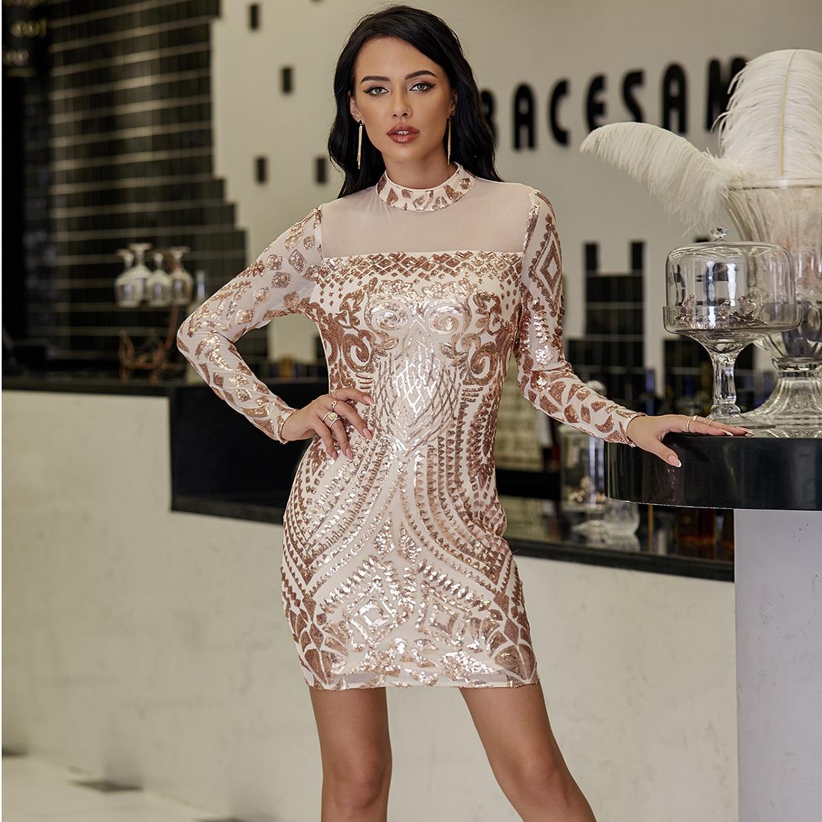 SHEIN / Mock-neck Mesh Yoke Sequin Dress