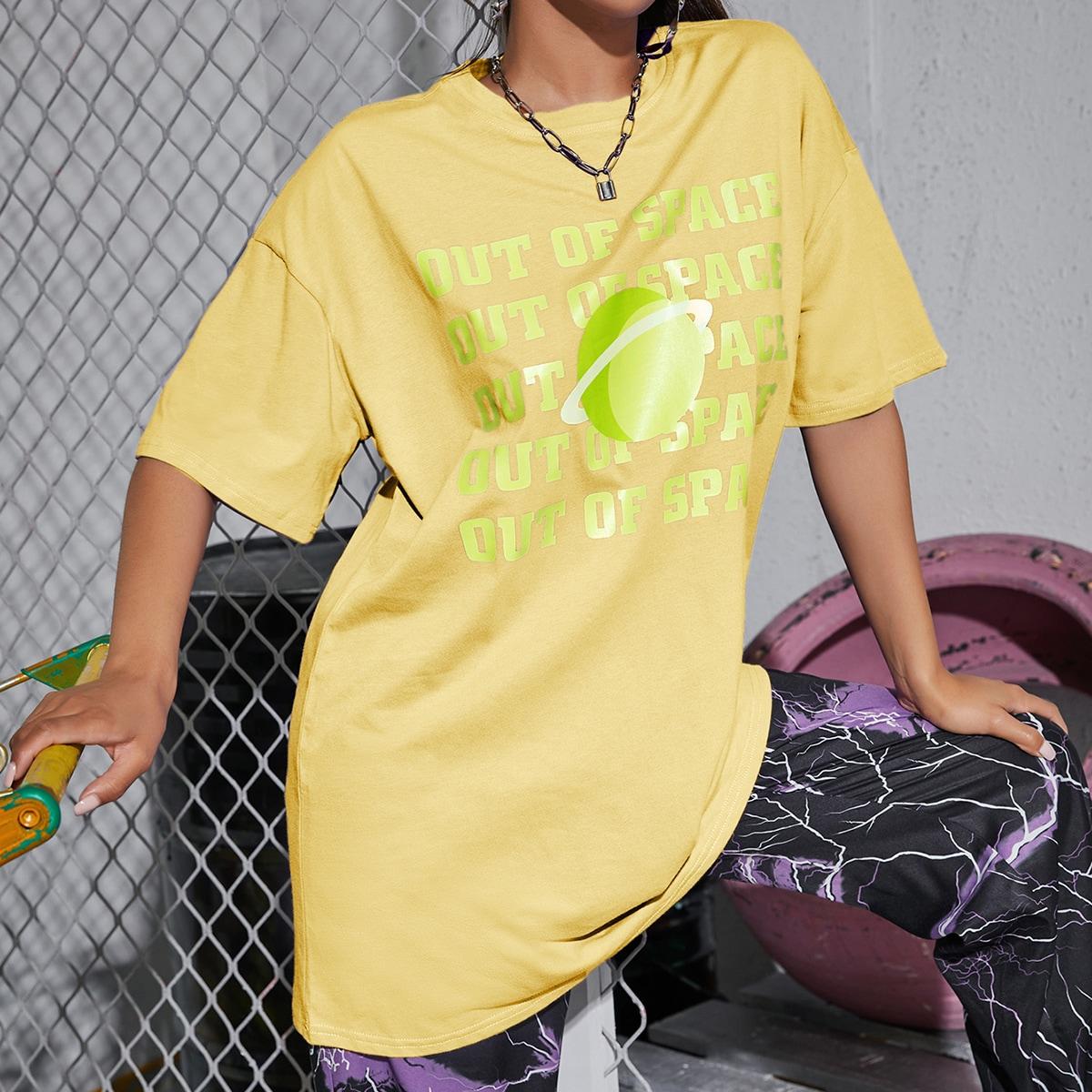Длинная футболка с текстовым принтом фото