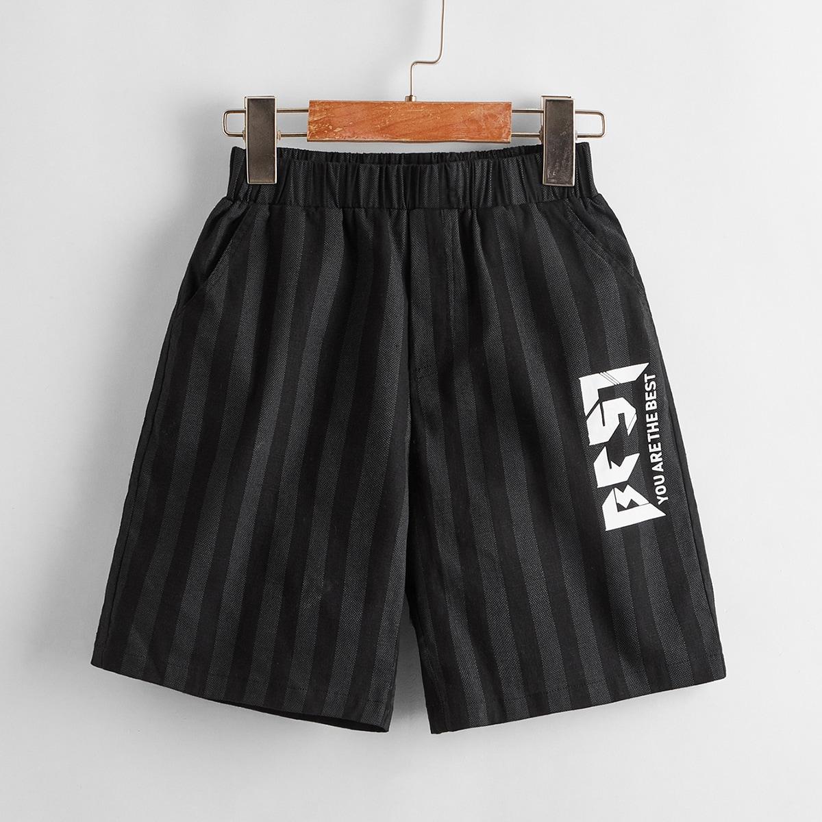 Полосатые шорты с текстовым принтом для мальчиков от SHEIN