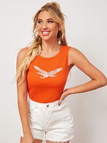 Orange   Eagle   Print   Neon   Tank   Top