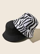 2pcs Zebra Striped Pattern Bucket Hat