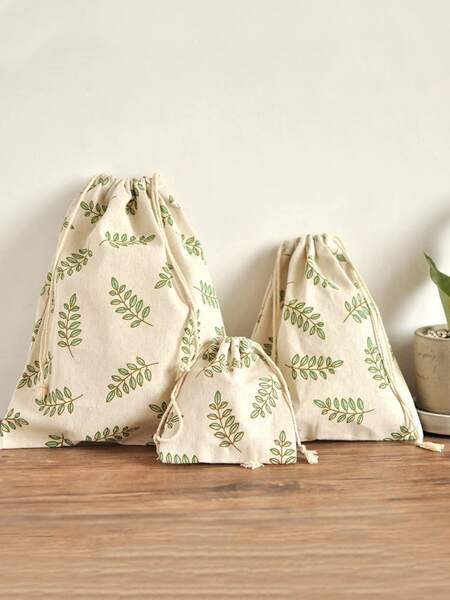 3pcs Leaf Print Drawstring Storage Bag