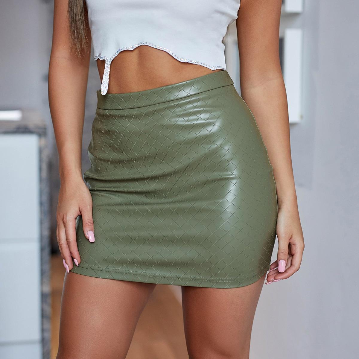 SHEIN / Falda PU de cintura alta