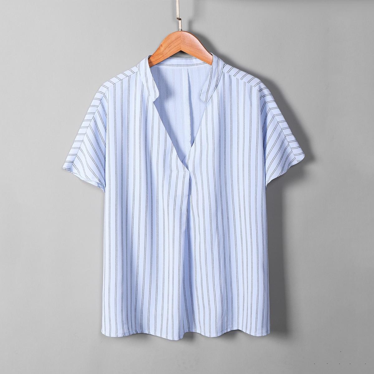 Нежно-голубой Полосатый Повседневный Блузы размер плюс фото