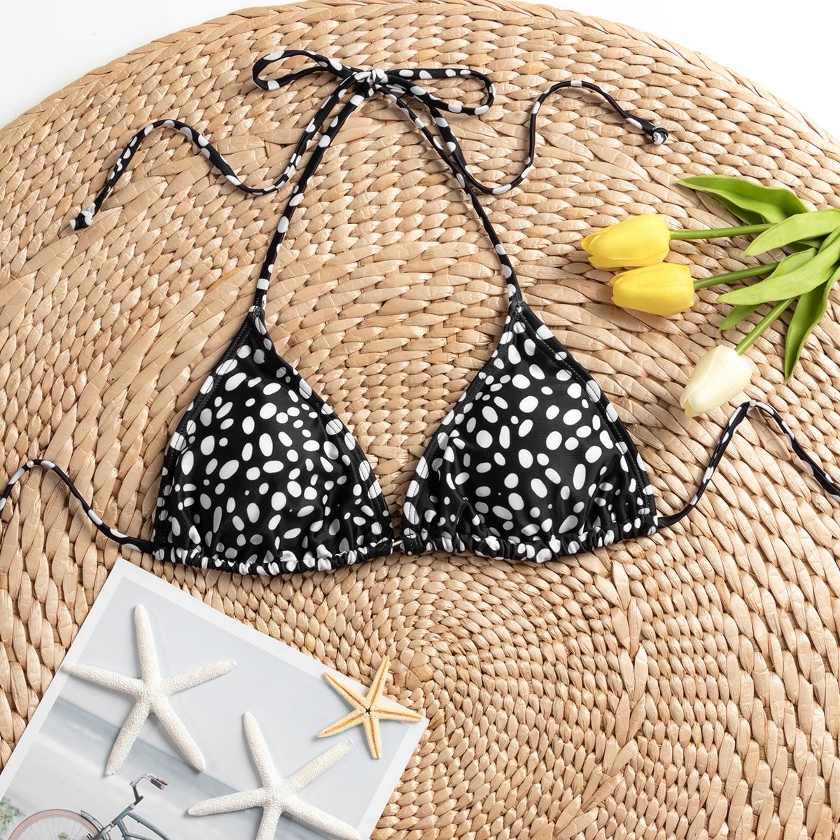 shein Zwart & wit Sexy Volledig geprint Bikini top Geknoopt