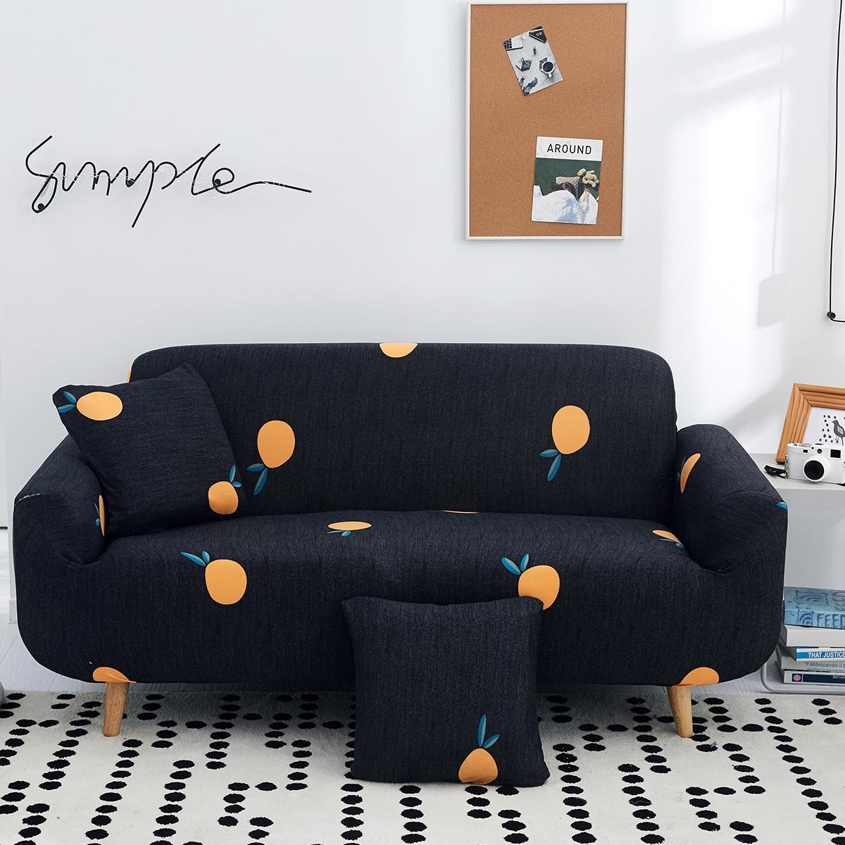 Чехол для дивана с оранжевым принтом без подушки фото