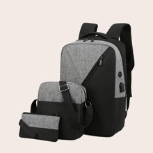 3pcs Men Two Tone Backpack With Purse (smbag18200629601) photo