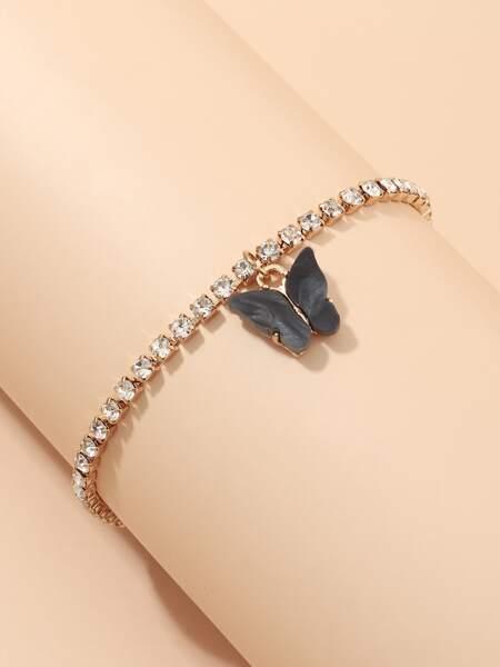 Butterfly Charm Rhinestone Decor Bracelet