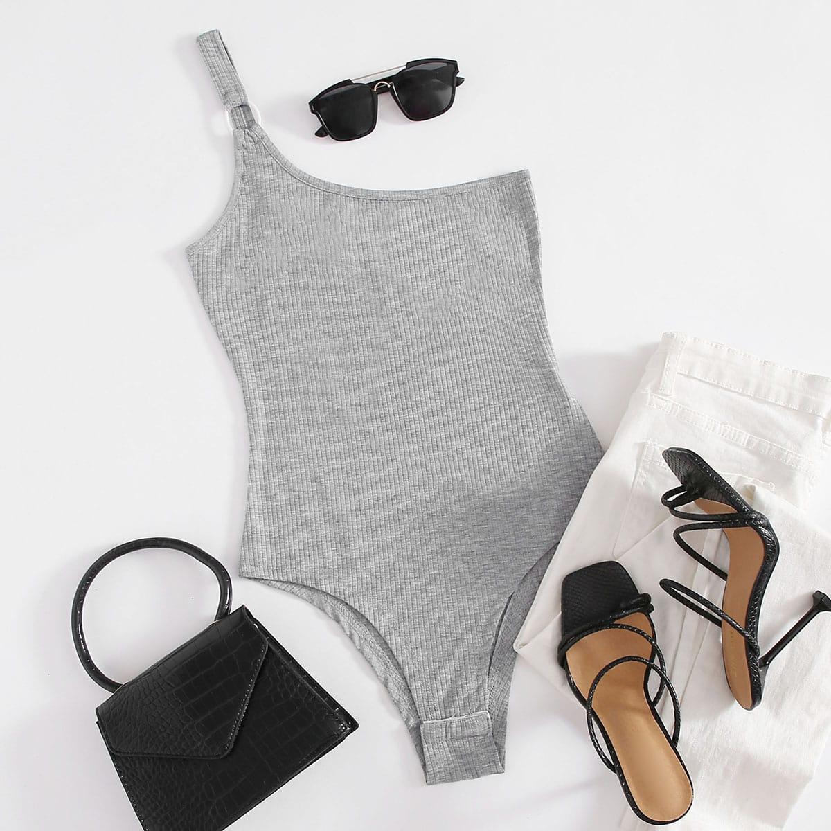 Светло-серый Шнуровка Одноцветный Повседневный Боди фото