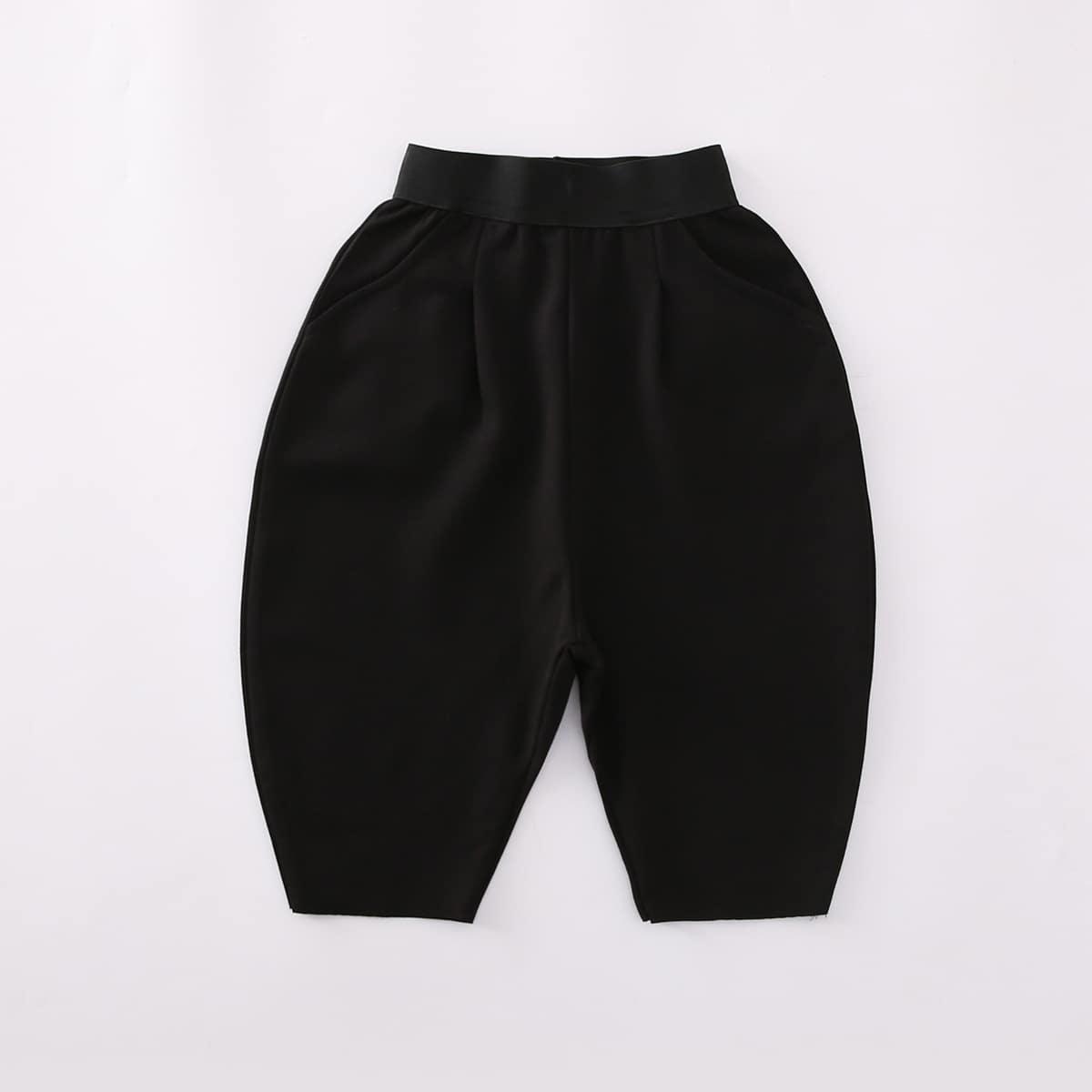 Черный Одноцветный Повседневный Шорты для мальчиков от SHEIN