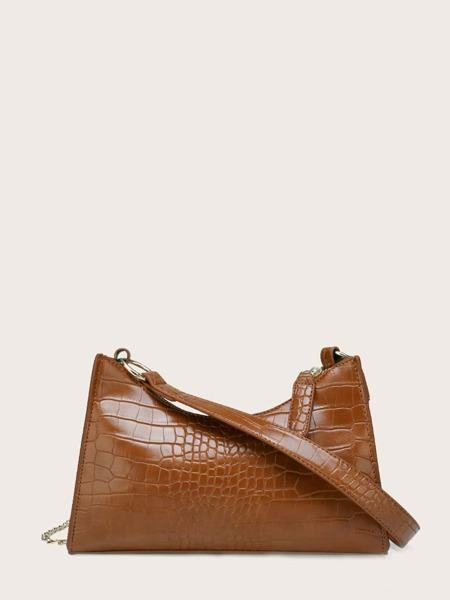 Croc Embossed Shoulder Bag