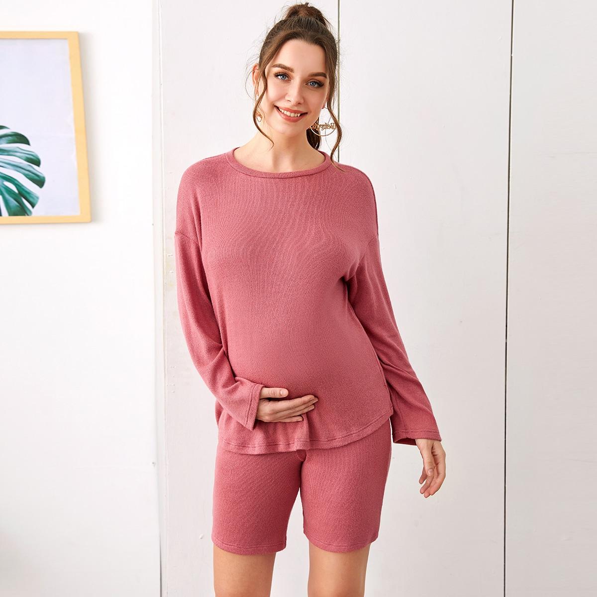 Однотонный топ и шорты для беременных от SHEIN