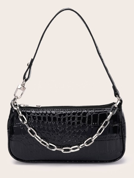 Chain Decor Croc Embossed Baguette Bag