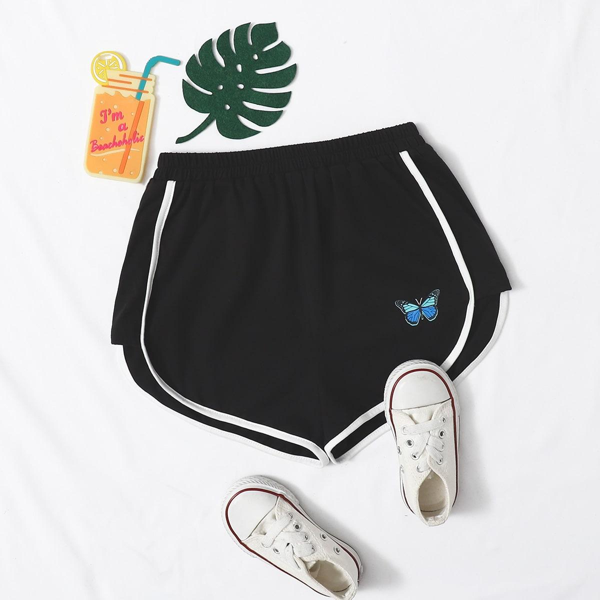 Шорты с принтом бабочки для девочек от SHEIN