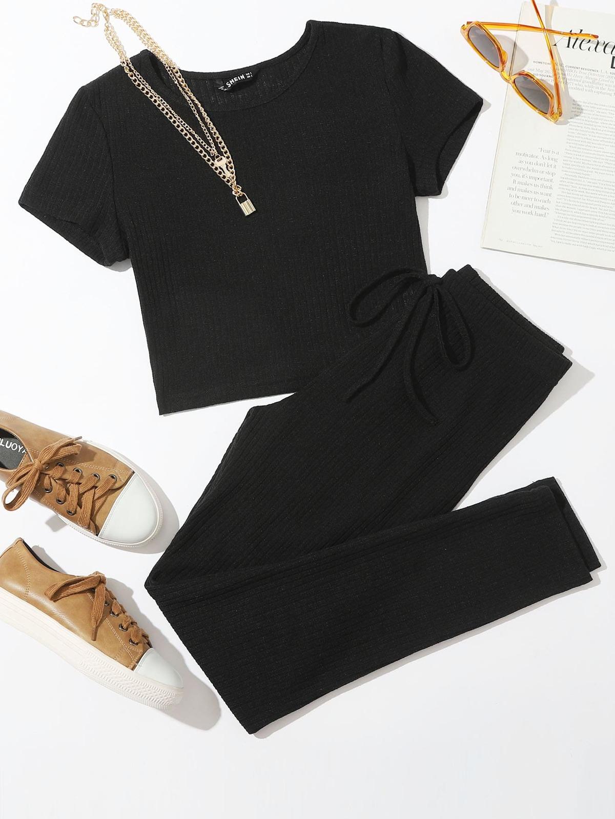 Solid Rib-knit Tee & Tie Waist Pants Set