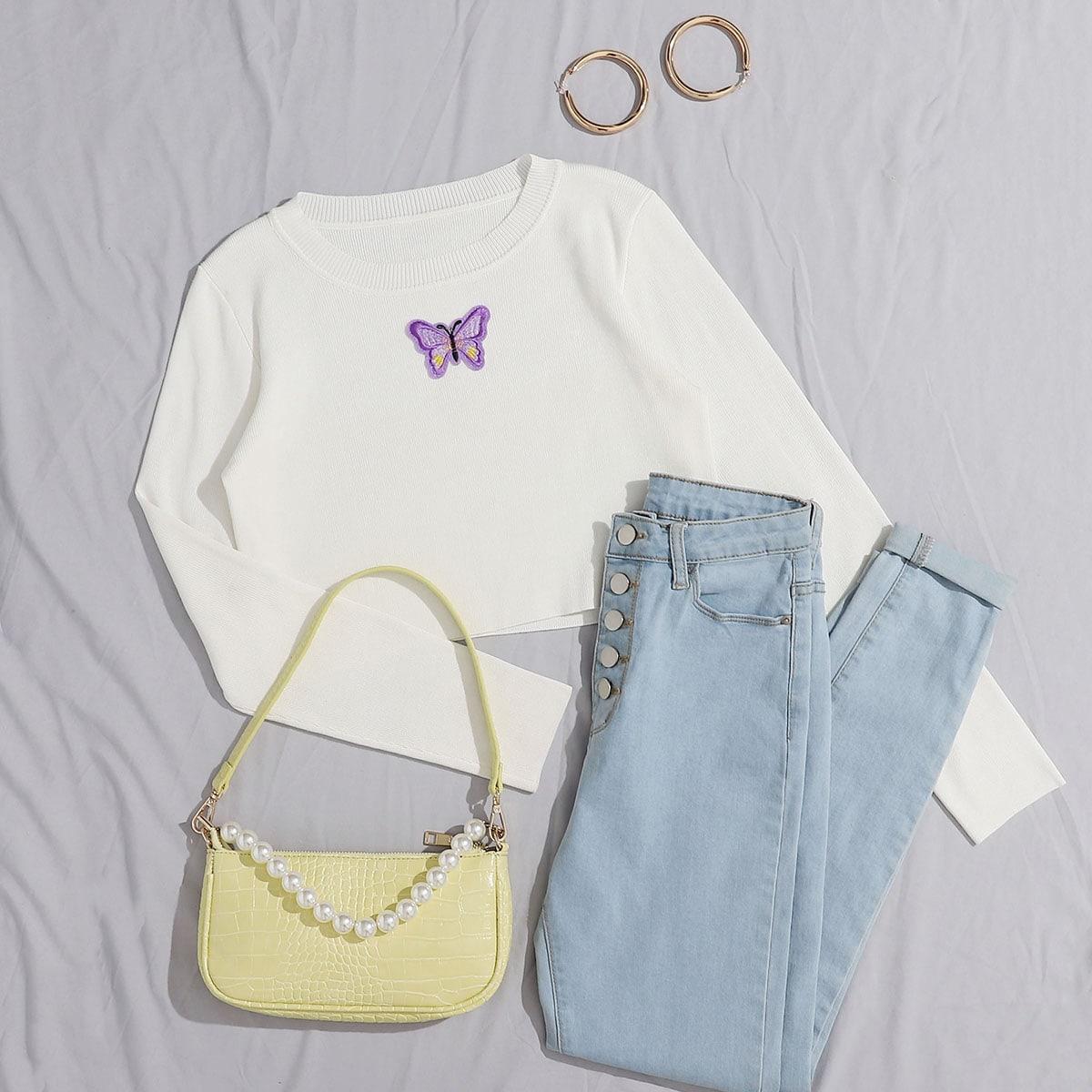 Вязаный свитер в рубчик с заплатой бабочки фото