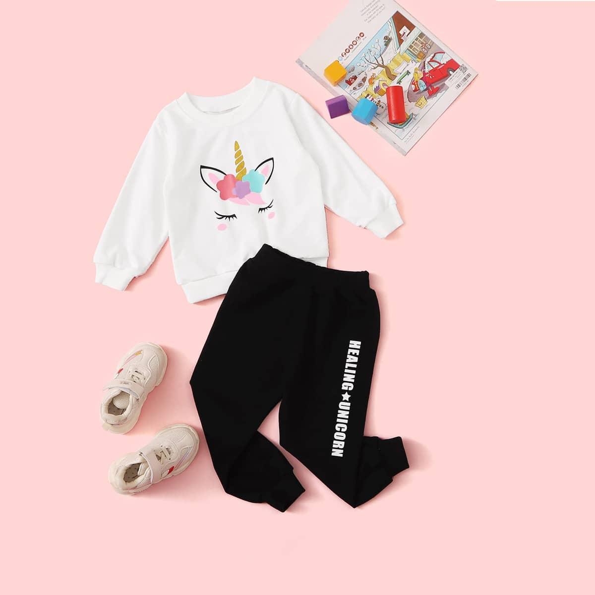 Спортивные брюки и свитшот с мультяшным принтом для девочек от SHEIN