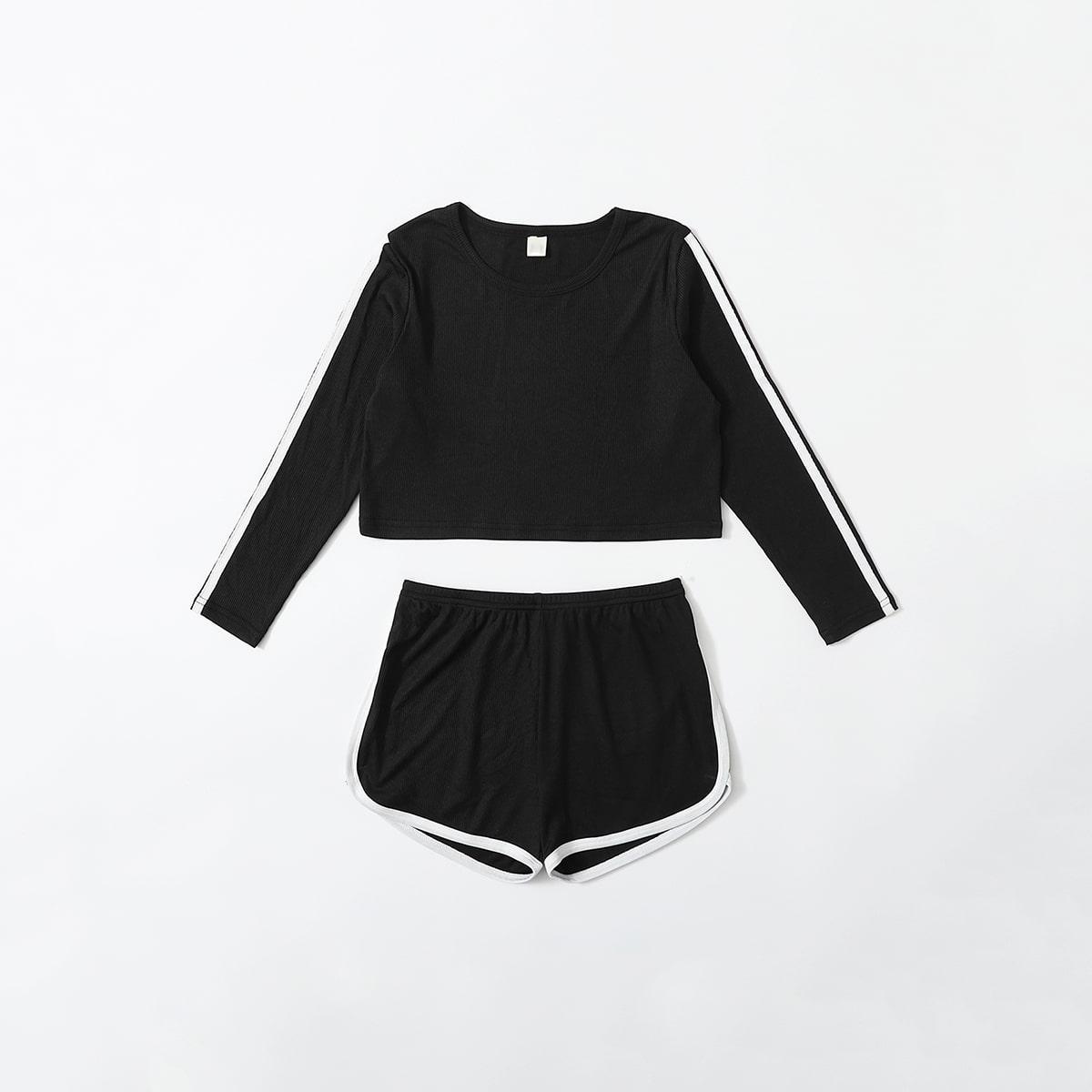 Контрастная отделка Спортивный Домашняя одежда для девочек от SHEIN