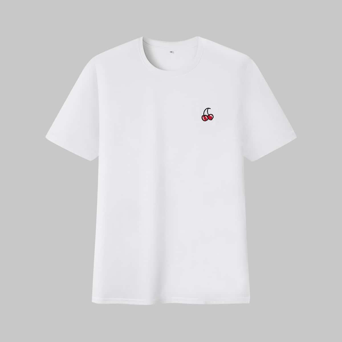 Белый Вышивка Фрукты и овощи Повседневный Мужские футболки
