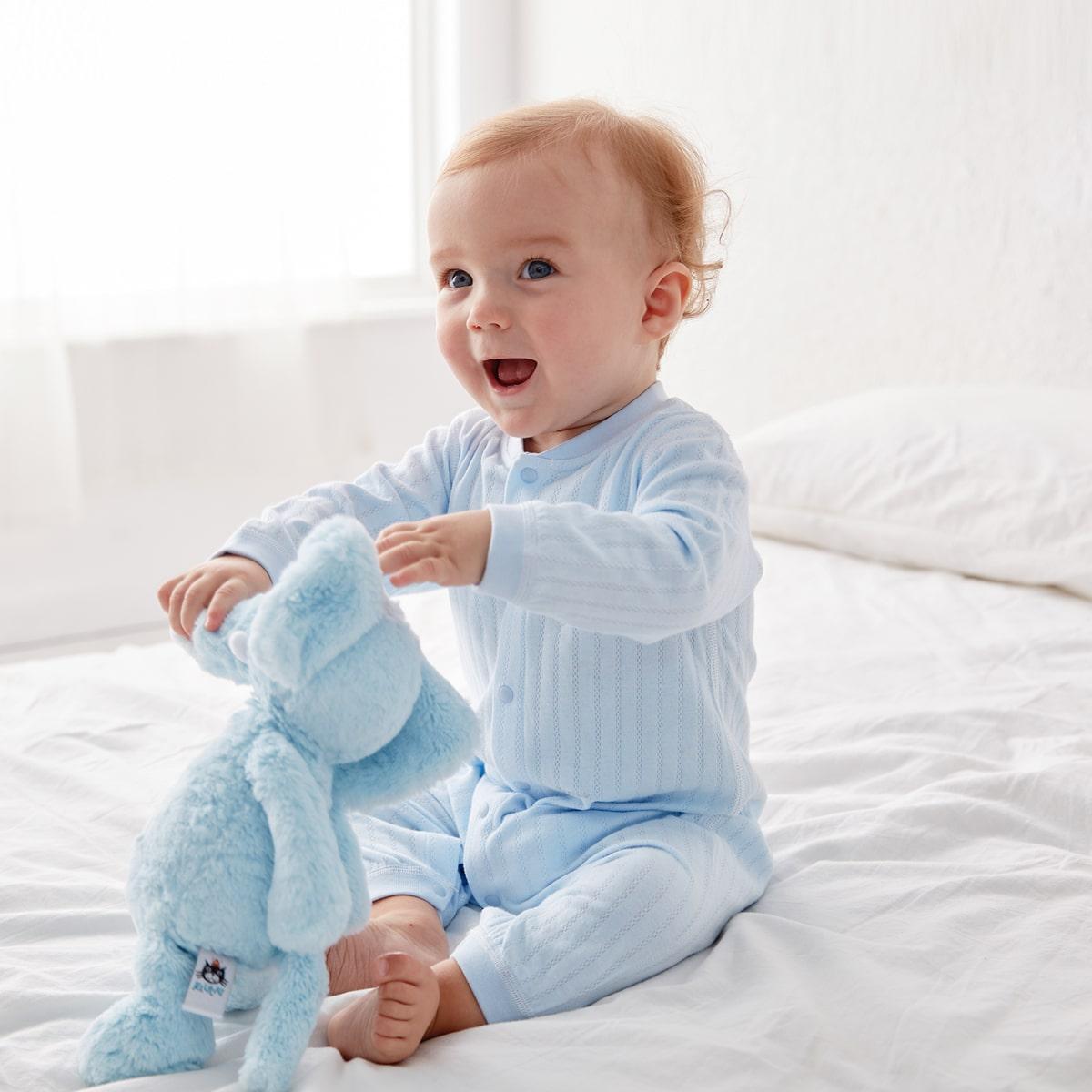 Нежно-голубой Однобортный Текст Повседневный Боди для малышей от SHEIN