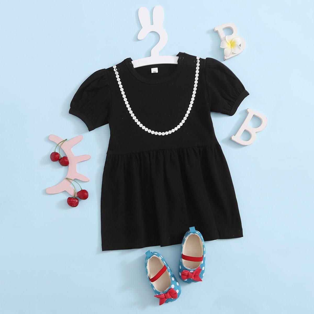 Чёрные Геометрический принт Элегантный Платья для малышей от SHEIN