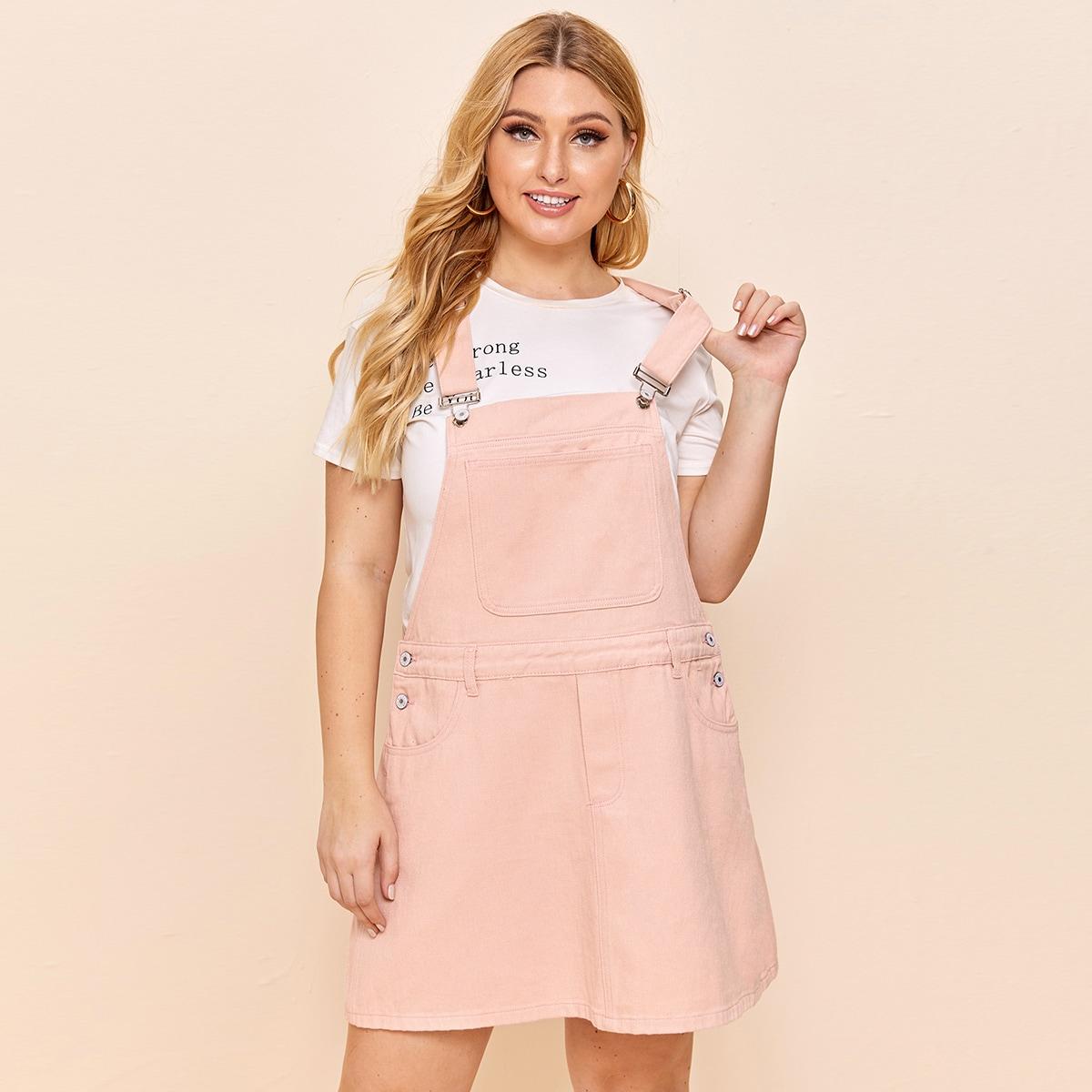 Нежний Розовый на пуговицах Одноцветный Институтский Джинсовые платья размер плюс фото