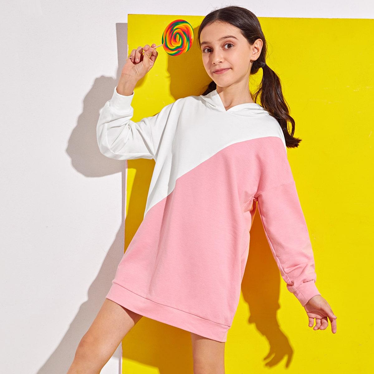 Двухцветное платье с капюшоном для девочек от SHEIN