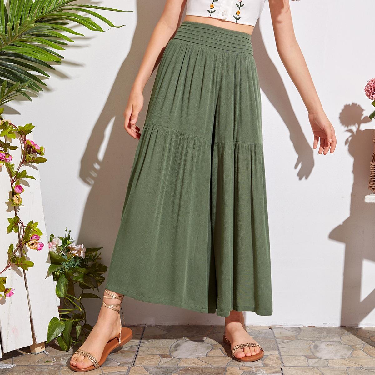 SHEIN / Hose mit Raffung auf Taille und breitem Beinschnitt
