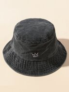 Washed Embroidery Bucket Hat
