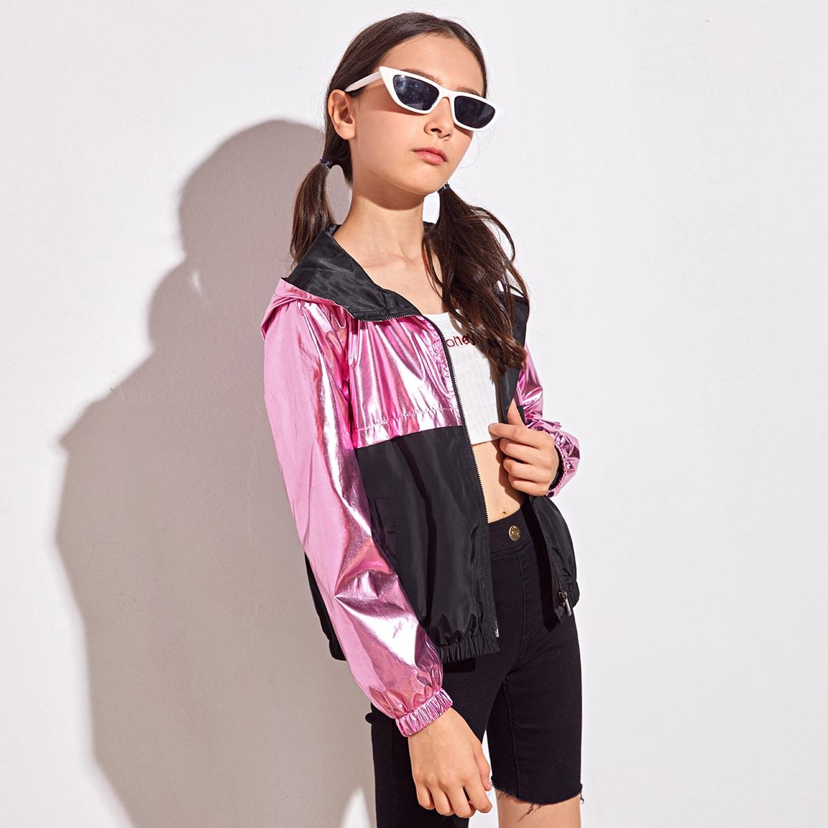 Куртка-ветровка с молнией для девочек от SHEIN