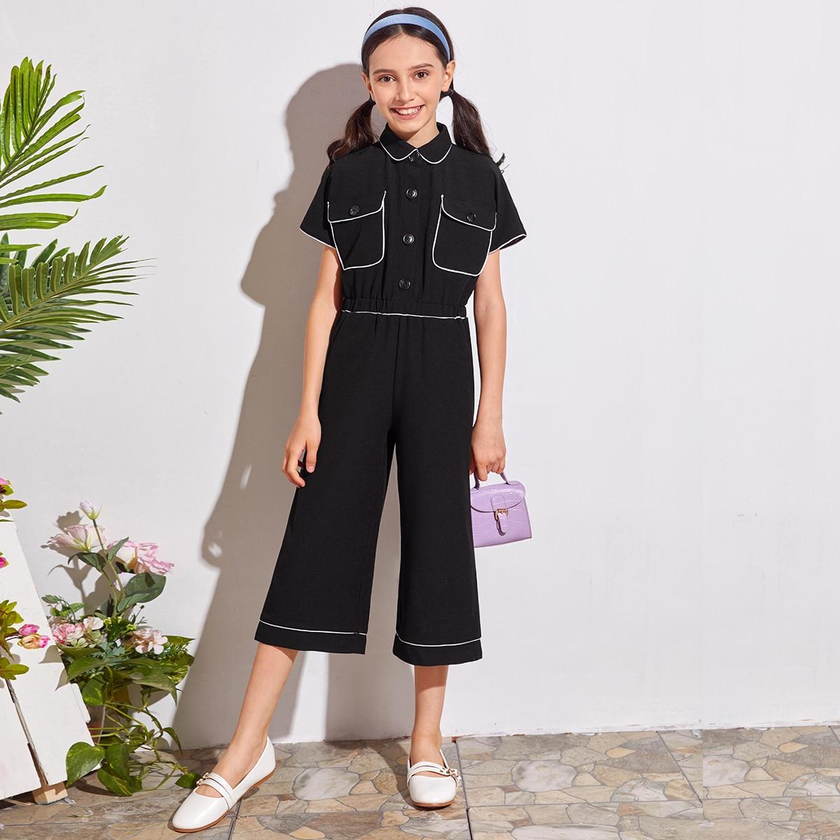 Кроп комбинезон с карманом для девочек от SHEIN