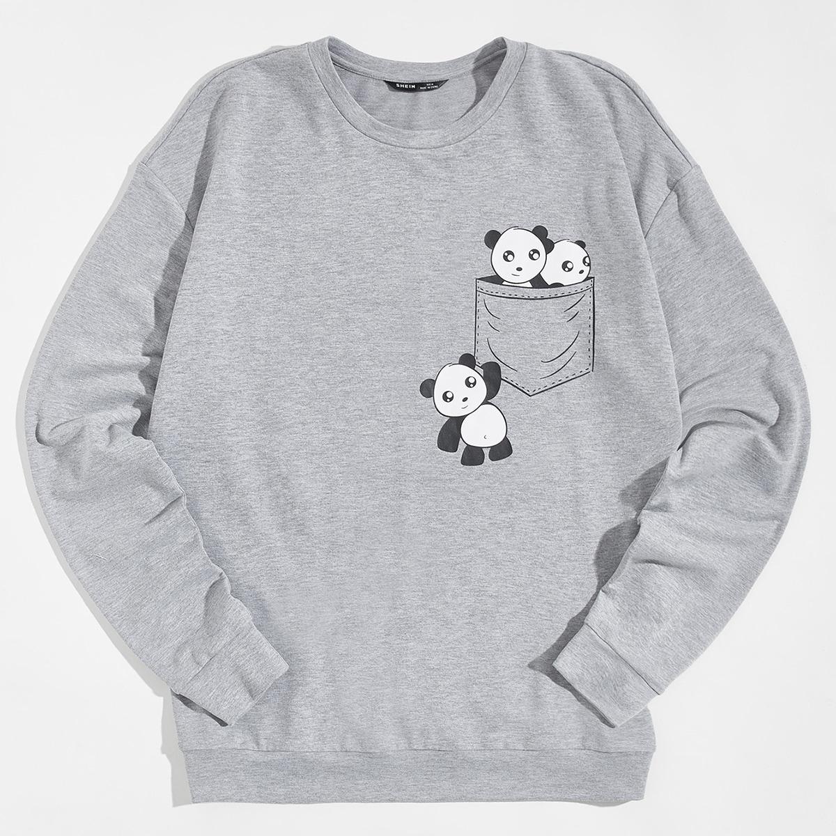 Мужской пуловер с принтом панды от SHEIN