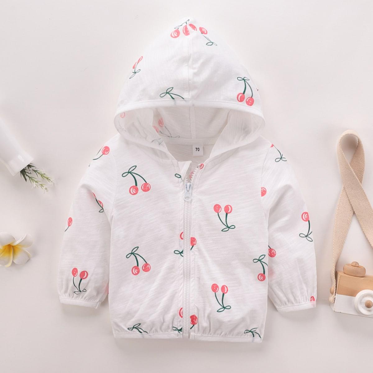 Белый на молнии Фрукты и овощи Повседневный Пальто для маленьких девочек от SHEIN