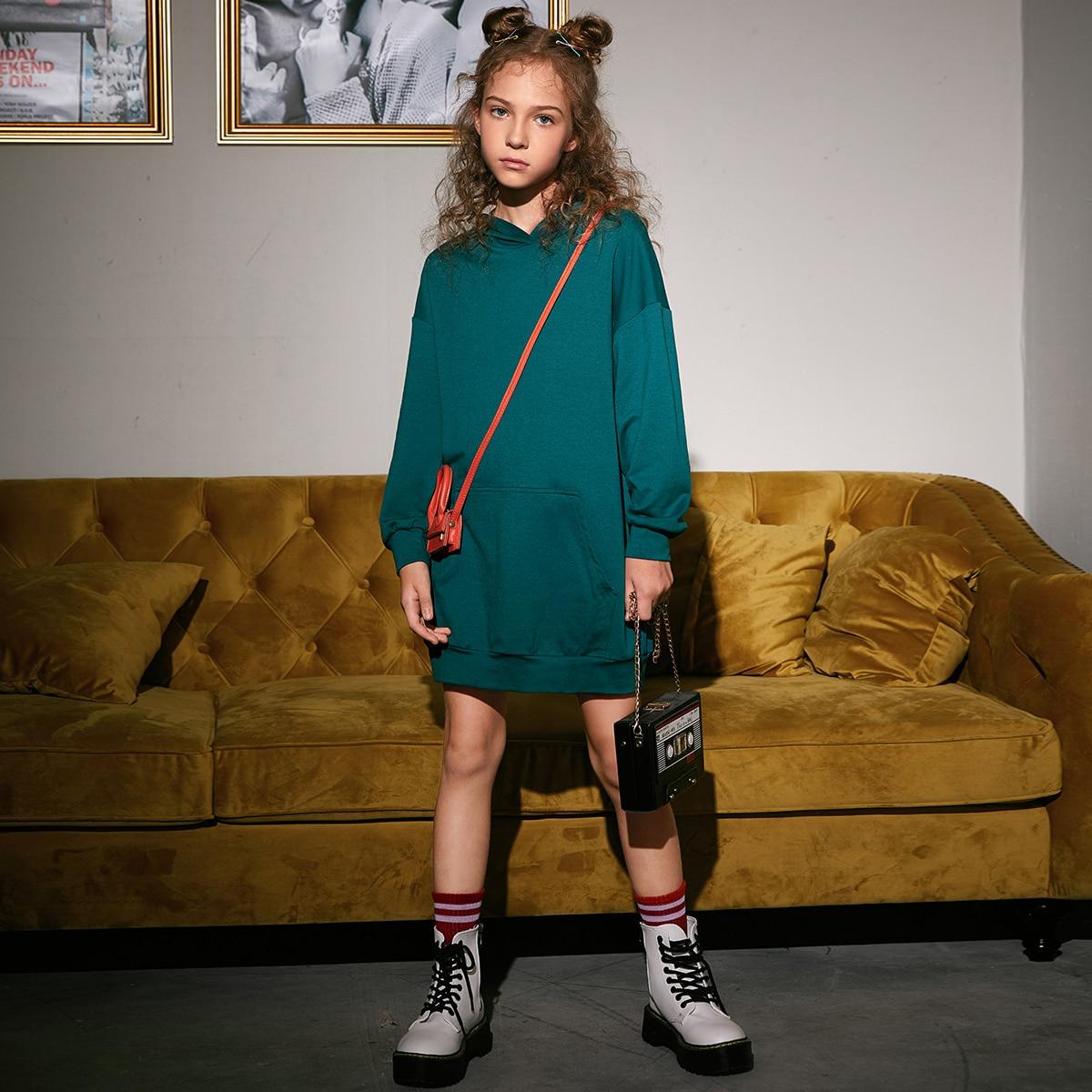 Платье с капюшоном и карманом для девочек от SHEIN