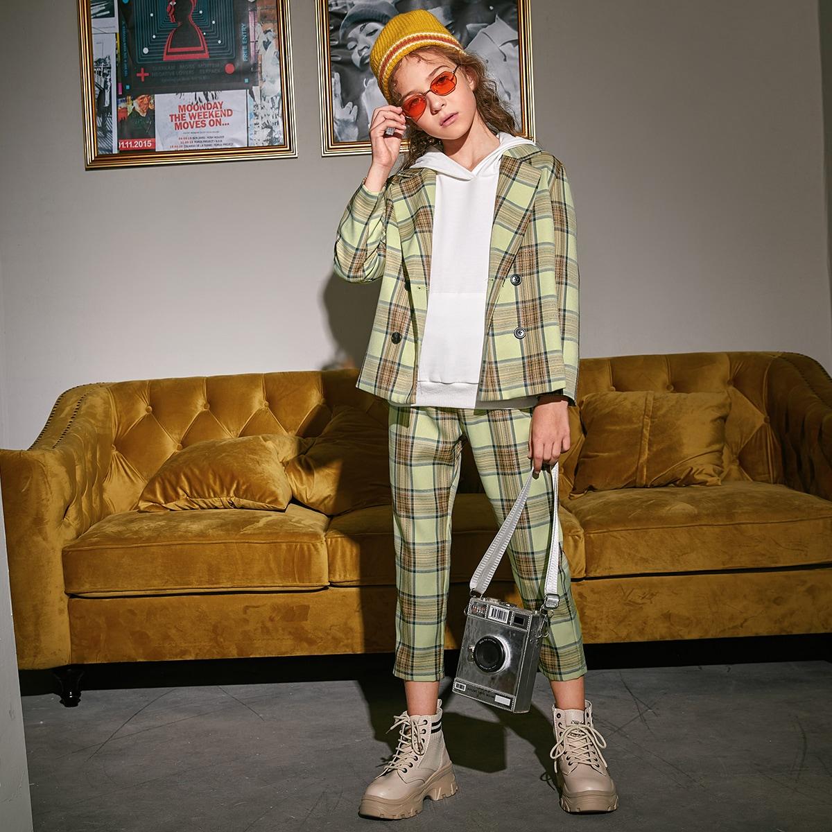 SHEIN / Zweireihiger Blazer mit Karo Muster & Hose Set