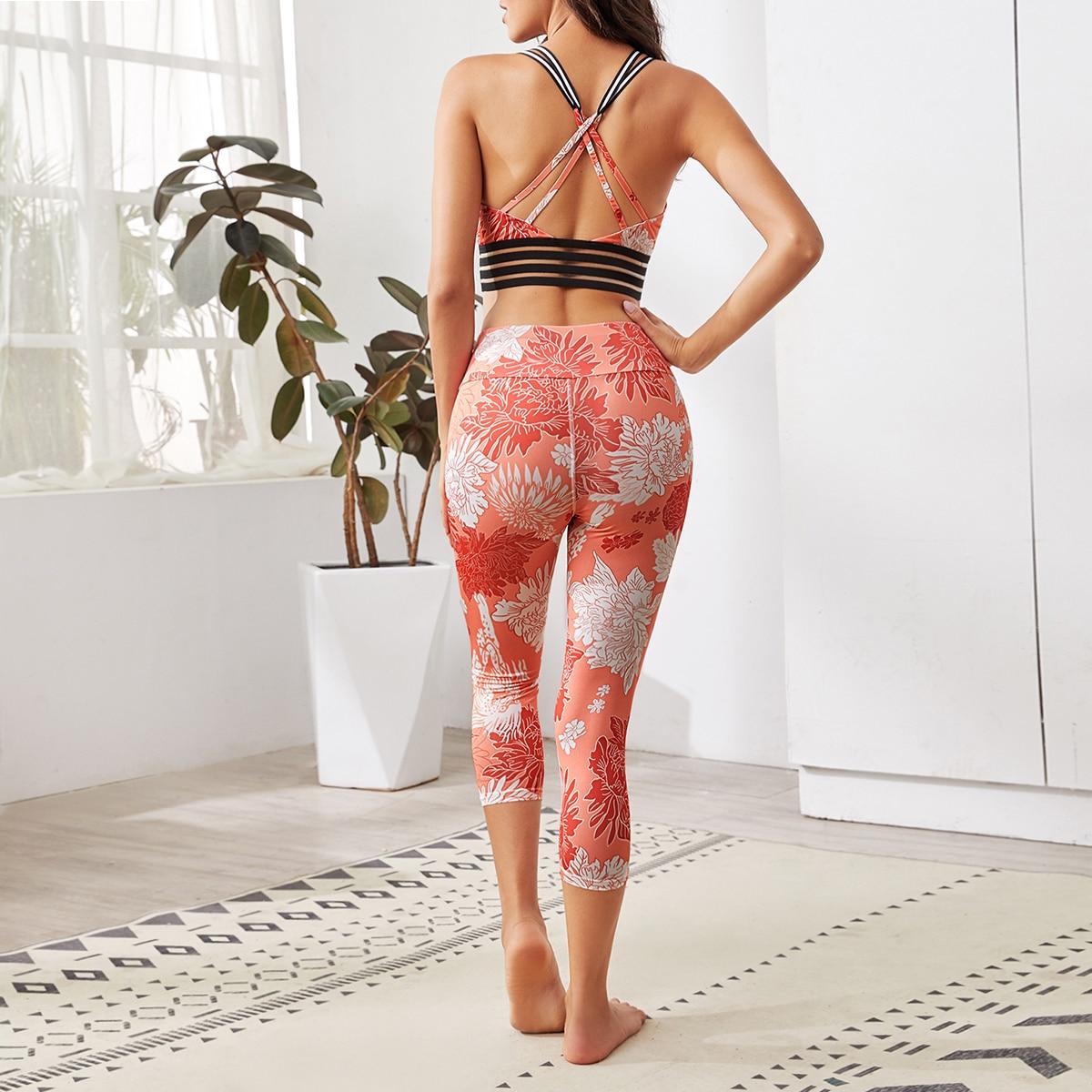 SHEIN / Top con tiras cruzadas con estampado floral con leggings capris