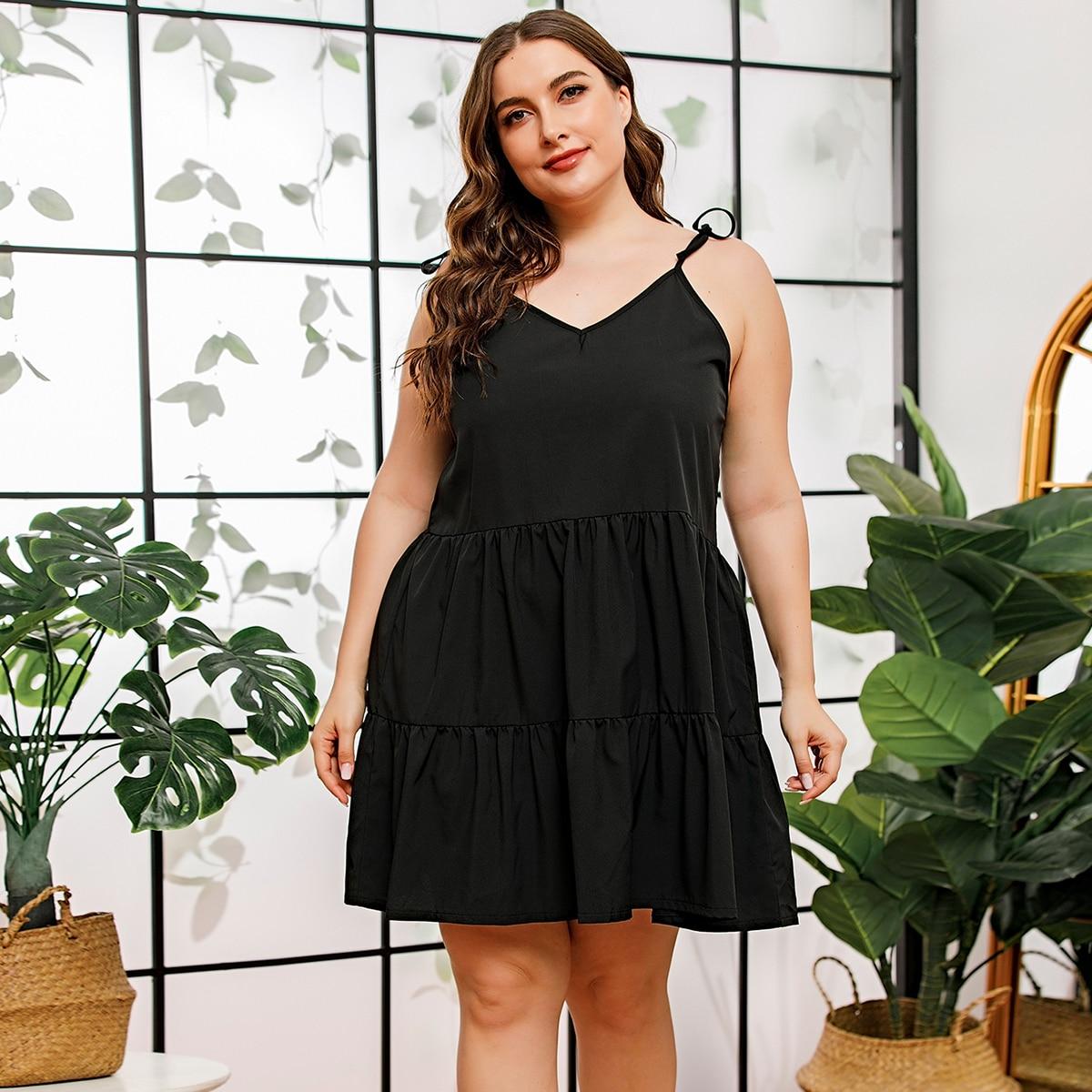 SHEIN / Plus Tie Shoulder Ruffle Hem Cami Dress