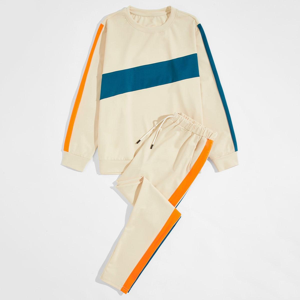 Бежевый на кулиске Контрастный цвет Спортивный Мужские комплекты от SHEIN
