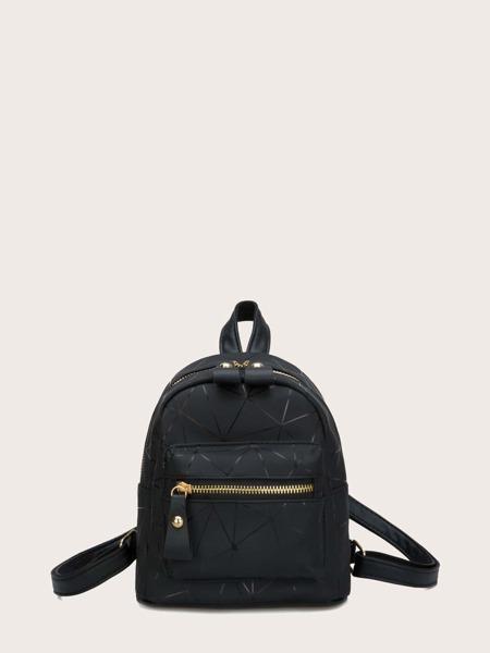 Geometric Pattern Pocket Front Backpack