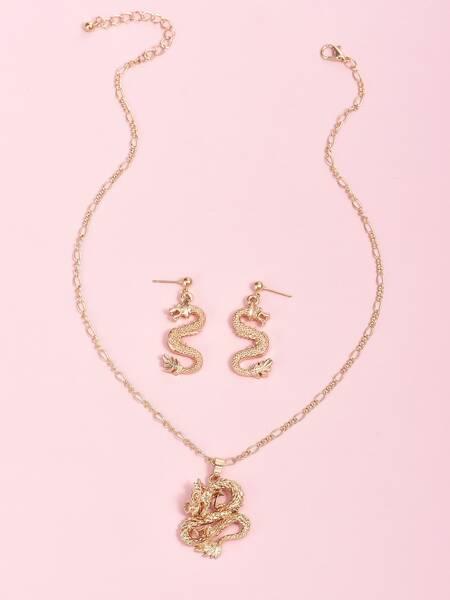 3pcs Dragon Charm Jewelry Set
