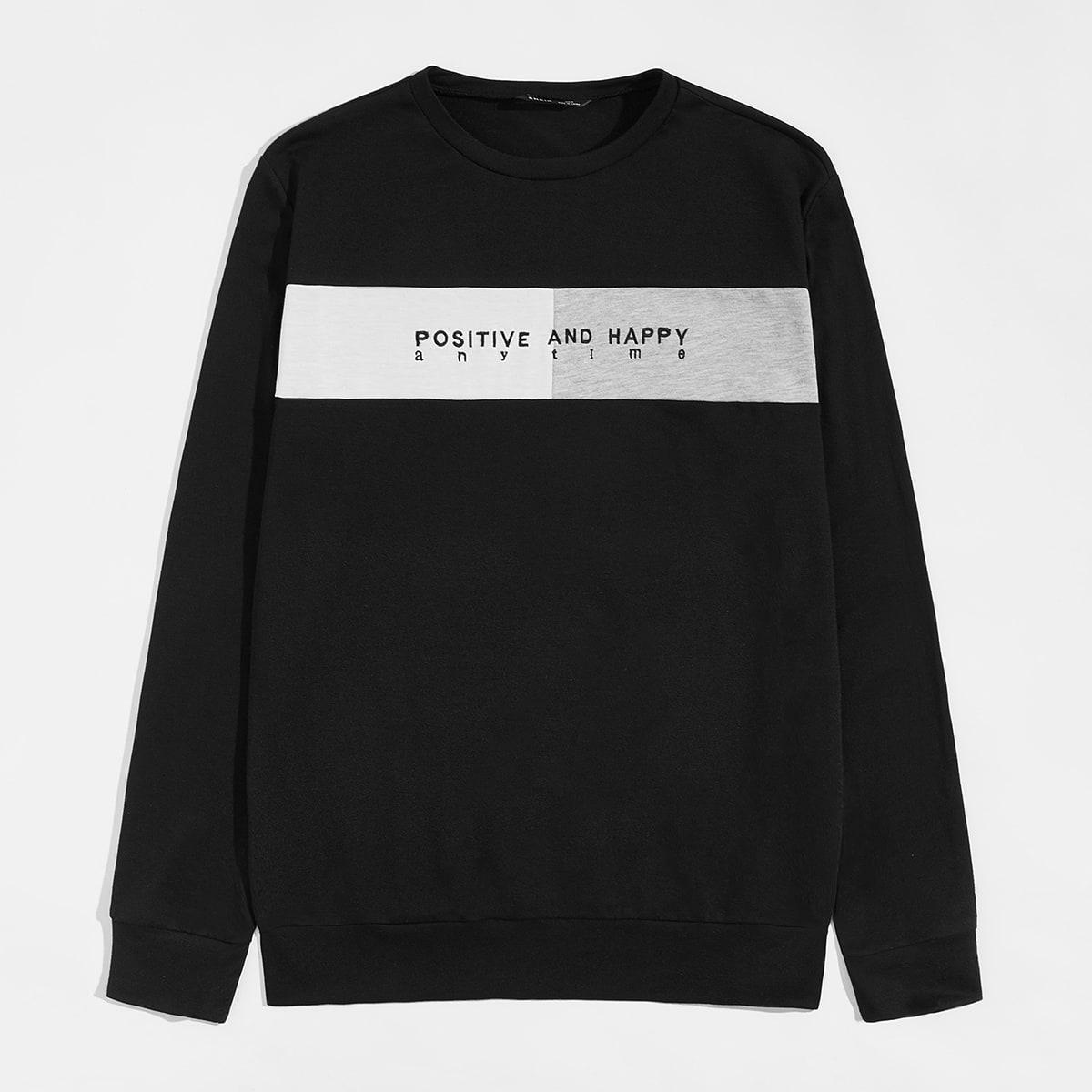 Мужской контрастный пуловер с текстовой вышивкой от SHEIN