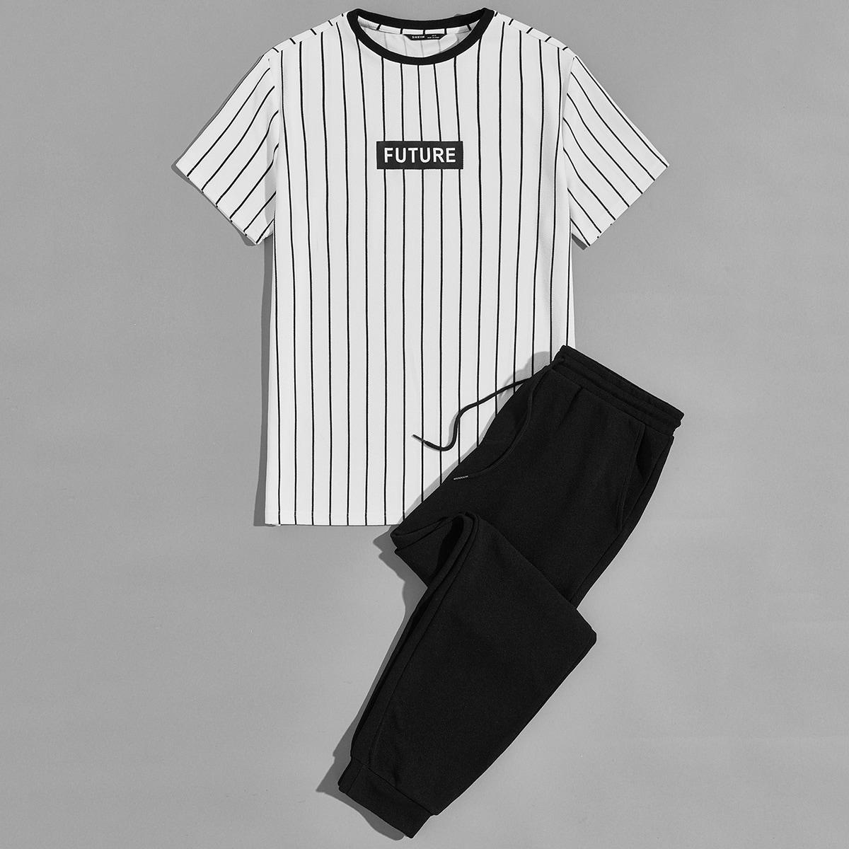 Мужские спортивные брюки и футболка в полоску с текстовым принтом фото