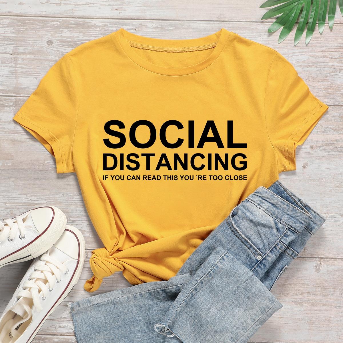 Жёлтые Лозунг Повседневный Размер плюс футболка фото