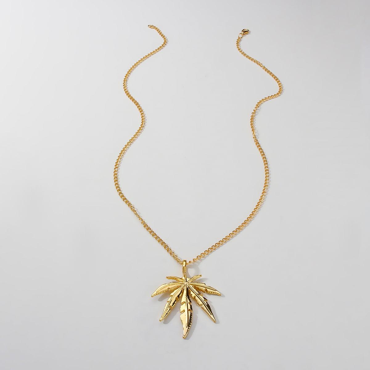 Мужское ожерелье с декором листа