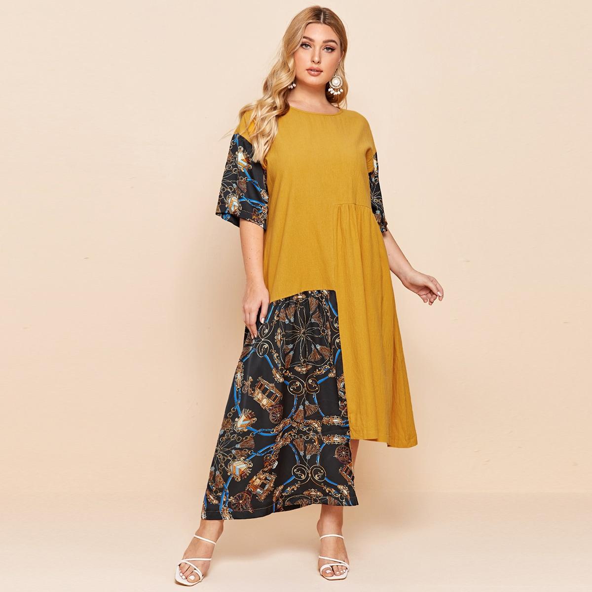 Горчично-желтый Асимметричный Графический принт Повседневный Платья размер плюс фото
