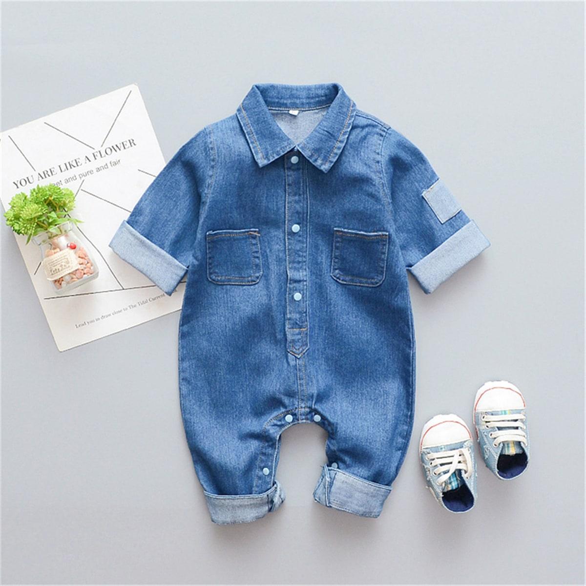 Средний Синий Умывания Однобортный Контрастный цвет Деним для малышей от SHEIN