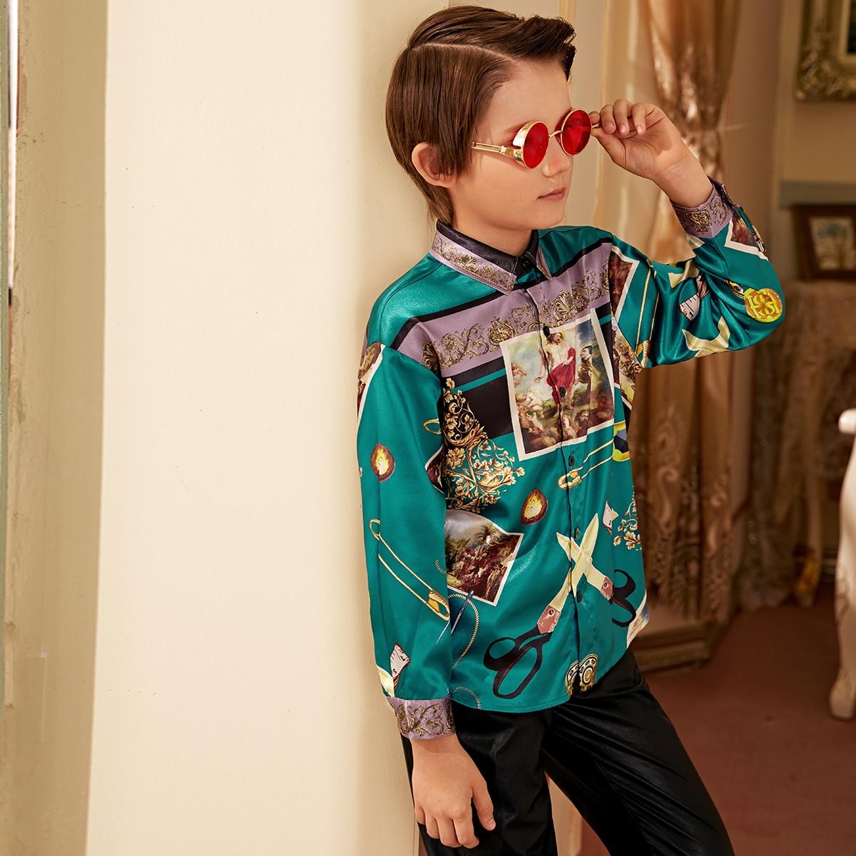 Шелковая рубашка с графическим принтом для мальчиков от SHEIN