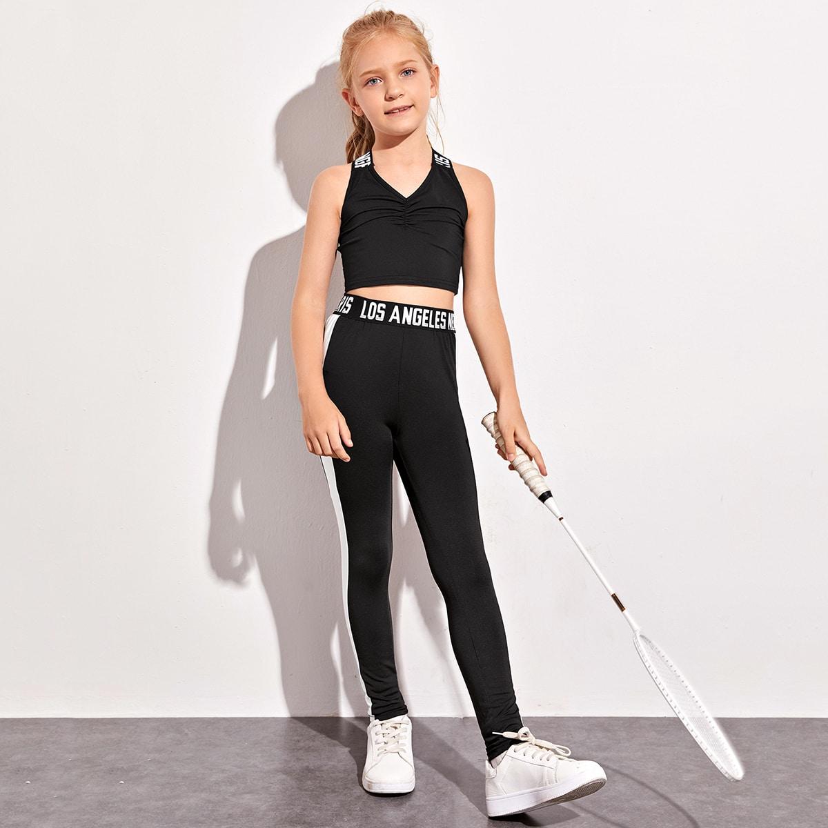 Короткий топ и облегающие брюки для девочек от SHEIN