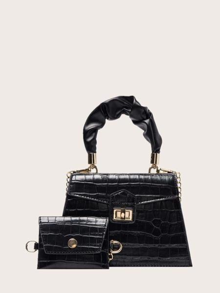 2pcs Croc Embossed Satchel Bag With Crossbody Bag